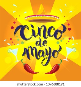 Hand sketched Cinco de Mayo text. May 5, federal holiday in Mexico. Fiesta banner and poster design with chili pepper, Mexican hat sombrero and decorations. Vector illustration.