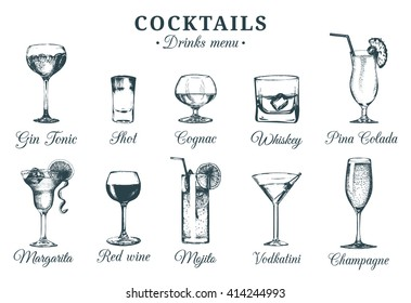 Hand sketched cocktails glasses. Vector set of alcoholic drinks drawings. Restaurant, cafe, bar menu illustrations isolated.