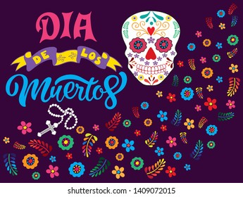 Hand sketched colorful Dia de los Muertos typography lettering with skull, rosary and flowers isolated on dark violet background. Vector illustration.