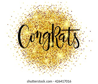 """Hand sketched """"Congrats"""" lettering typography. Drawn art sign. Motivational text. For logotype, badge, icon, card, postcard, logo, banner, tag. Celebration vector illustration on textured background."""