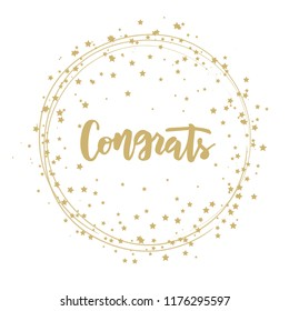 Hand sketched Congrats text as logotype, badge and icon, card, invitation, poster, banner template. Lettering typography. Vector illustration.