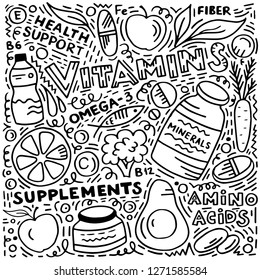 Hand sketched doodle: Vitamins and supplements with fruits, vegatablees, pills drawings. Black and white Vector illustration isolated on white background.