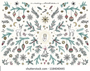 Hand sketched floral design elements for Christmas