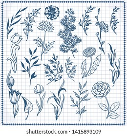 Sketched Outlines Leaves Flower Heads Floral 100/% Cotton Fabric