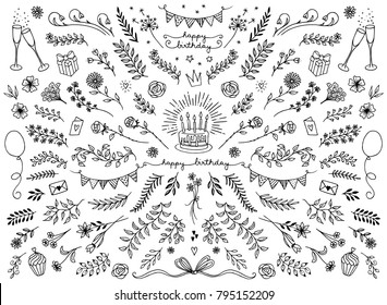Hand sketched floral design elements for birthday cards, flowers and leaves for text decoration