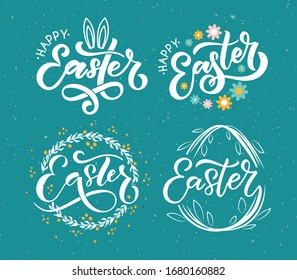 Hand sketched Happy Easter text as logotype, badge and icon. Easter postcard, card, invitation, flyer, banner template. Easter lettering typography. Season's Greetings. Easter egg hunt vector design