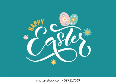 Hand sketched Happy Easter text as logotype, badge and icon.  drawn spring celebration postcard, card, invitation, poster, banner template.  lettering typography. Seasons Greetings