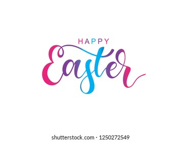 Hand sketched Happy Easter typography lettering poster. Modern calligraphy. Colorful sign isolated on white background. Vector illustration.