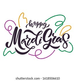 """Hand sketched """"Happy Mardi Gras"""" lettering with colorful twirled beads as traditional symbols of carnival in New Orlean, Louisiana. Enjoyable vector illustration on white background for poster, card."""