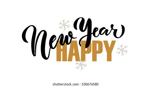 Hand sketched Happy New Year for holidays greeting card with snowflakes.Lettering celebration logo set.Typography for winter holidays.Calligraphic poster on textured background.Postcard motive