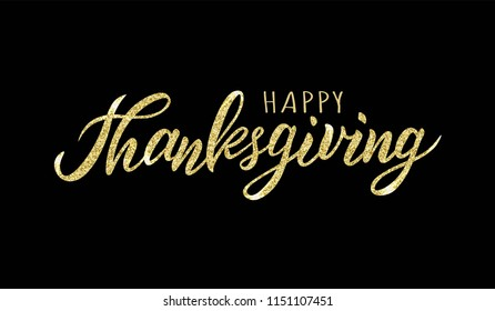 Hand sketched Happy Thanksgiving text. Lettering typography for logo, badge, icon, card, invitation and banner template. Greeting card for Thanksgiving day celebration. Vector illustration.