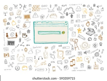 Hand Sketched Information Technology with web browser and loading icon. Editable Clip Art.
