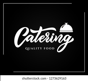 Hand sketched lettering Catering company logo on black background.Vector illustration EPS 10. Outdoor events and restaurant premium service. Banner, business card, menu