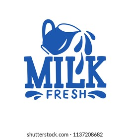 Hand sketched lettering Fresh Milk with Pitcher and splashes drawing. Modern brush calligraphy on white background. Handwritten vector illustration isolated on white background for banners,logo,tags.