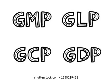 Hand sketched lettering: GMP GLP GCP GDP good practices. Vector hand drawn illustration isolated on white background.