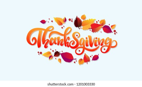 hand sketched lettering thanksgiving template for party banner design print