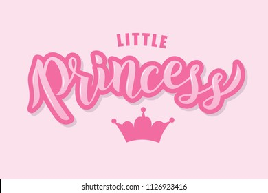 Hand sketched Little Princess text on textured background for clothes. Kids badge, tag, icon. Great for card, invitation, poster, banner template. Celebration lettering typography. Vector.