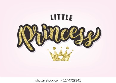 Hand sketched Little Princess text textured background for clothes. Kids badge, tag, icon. Great for card, invitation, poster, banner template. Celebration lettering typography. Vector.
