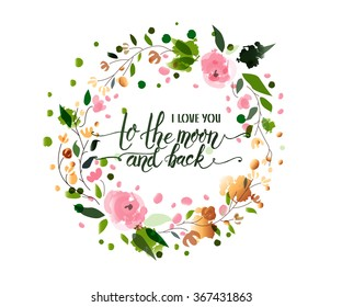 Hand sketched I Love You to the Moon and Back text as Valentines Day logotype, badge and icon. Celebration postcard, card, invitation, flyer, banner template. Romantic quote lettering typography