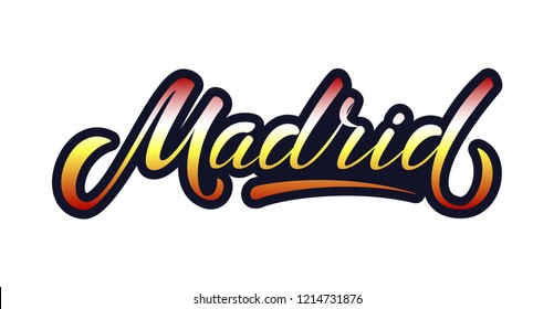 "Hand sketched ""Madrid"" lettering typography. Drawn art sign. Modern calligraphy. For Spanish souvenir, card, postcard, badge, icon, logo, banner, tag, t-shirt, bag. Tourist vector illustration EPS 8"