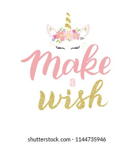 Hand sketched Make a wish text as badge, tag, icon, celebration card, invitation, postcard, banner template. Fashion lettering typography poster. Vector illustration.