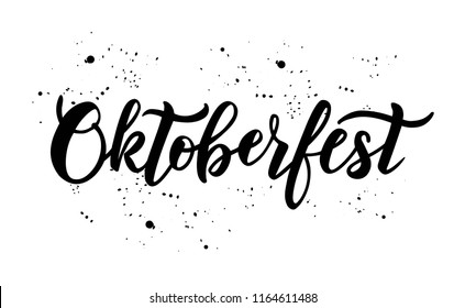 Hand sketched Octoberfest text on textured background. Lettering typography for Octoberfest holidays greeting card, invitation, banner, postcard, web, poster template. Vector illustration.