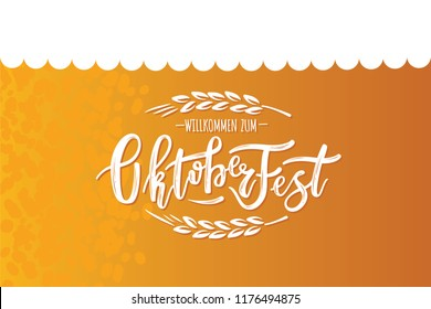 Hand sketched Octoberfest text on textured background. Lettering for Octoberfest holidays greeting cards, invitations, banners, postcards.