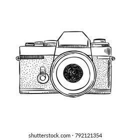 Hand sketched old style vintage camera. Poster with retro camera illustration