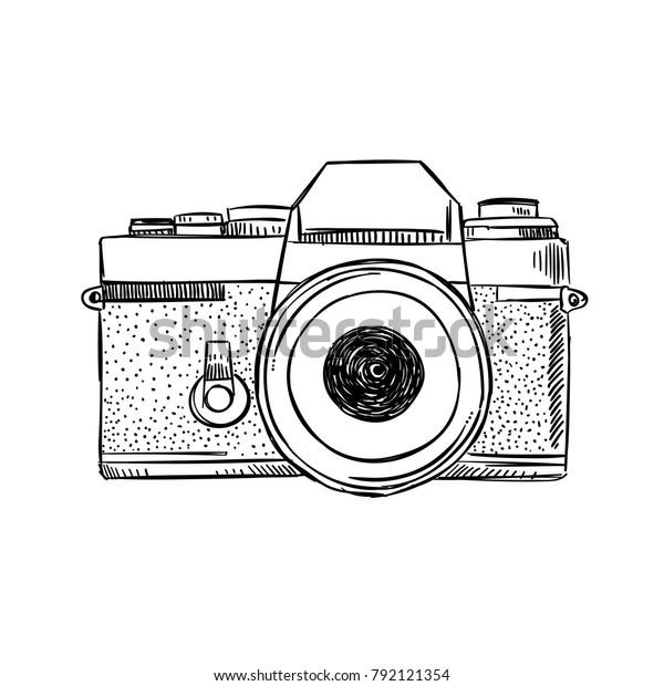手描きの古いスタイルのビンテージカメラ レトロなカメライラストとポスター のベクター画像素材 ロイヤリティフリー