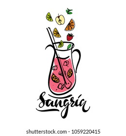 Hand sketched Sangria recipe with lettering typography. Traditional spanish drink. Sangria vector illustration.