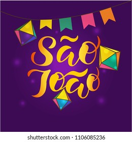 Hand sketched Sao Joao text for logo, badge, icon, card, invitation and banner template. Portuguese Brazilian Text saying Saint John. Festive lettering typography. Vector illustration.