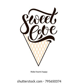 """Hand sketched """"Sweet love"""" lettering typography as ice cream cone for market, store, items, websites. Celebration lettering typography poster EPS 10 for valentine day as greeting card, invitation"""