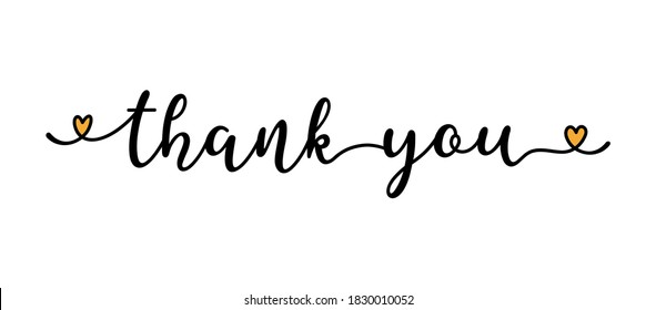 Hand sketched THANK YOU quote as ad, web banner. Lettering for banner, header, card, poster, flyer