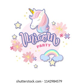 Hand sketched  Unicorn Party text on textured background. Lettering typography. Great for logo, badge, greeting, card, stick cake topper, party, baby birthday, banner, invitation template.