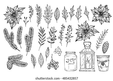 Hand sketched vector holiday elements ( laurel, frame, leaf, poinsettia, holly, berry, pine cone). Christmas branches. Perfect for invitations, greeting cards, posters, prints