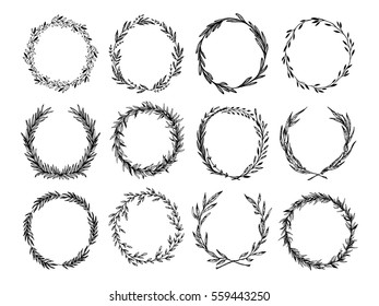Hand sketched vector vintage elements ( laurels, leaves, flowers, swirls and feathers). Wild and free. Perfect for invitations, greeting cards, quotes, blogs, Wedding Frames, posters and more