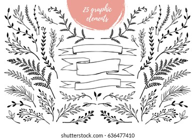 Hand sketched vector vintage elements ( laurels, frames, leaves, flowers, swirls, branches). Wild and free. Summer collection. Perfect for invitations, greeting cards, posters, prints etc