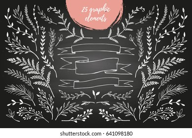 Hand sketched vector vintage elements ( laurels, frames, leaves, flowers, swirls, branches). Chalkboard background. Summer collection. Perfect for invitations, greeting cards, posters, prints