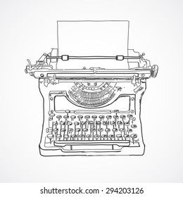 Hand sketched vintage typewriter made in vector