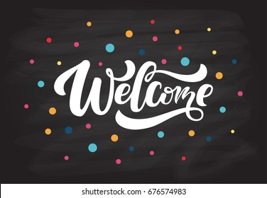"""Hand sketched """"Welcome"""" lettering typography. Drawn art sign. Motivational text. Greetings for logotype, badge, icon, card, postcard, logo, banner, tag. Celebration vector illustration EPS 10"""