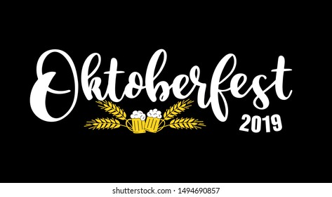 Hand sketched Welcome to Oktoberfest 2019 phrase as header with beer mugs, on black background. Vector illustration of Bavarian beer festival. Drawn Wiesn lettering for poster, banner, logo.