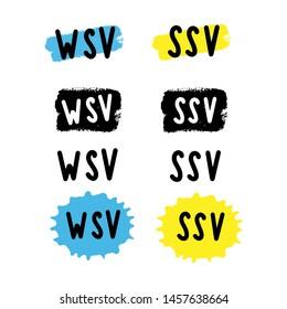 "Hand sketched ""WSV SSV, Winter Sommer Schlussverkauf"", translated from German winter summer final sale. Tag, sticker, label, bubble. Ink brush stroke, line or texture."