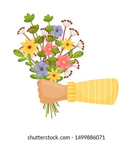 Hand in a sleeve holds a bouquet of flowers and leaves. Vector illustration on a white background.