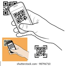 Hand with smart phone taking QR code