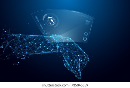 Hand with smart watch and technological digital holographic plate from lines and triangles, point connecting network on blue background. Illustration vector