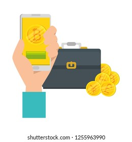 hand with smartphone and bitcoin commerce