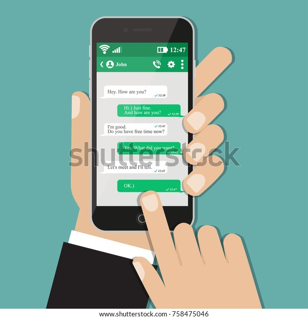 Hand with smartphone chat. Vector illustration eps10