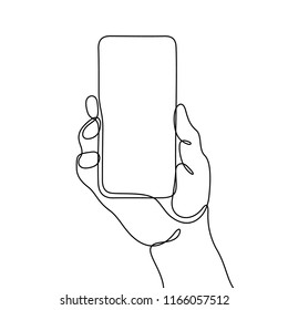 Hand with smartphone continuous line sketch