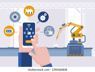 Hand with smartphone. Monitoring app on a smartphone and smart automated production line. Remote control smart factory. Smart industry 4.0 Vector illustration