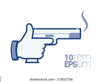 Hand with smoking gun. Gun icon. Social icon. Murder icon. Icon manslaughter. Mass kill.   Kill icon. Icon assassination. Teen killer. Vector illustration isolated hand with gun on white background.
